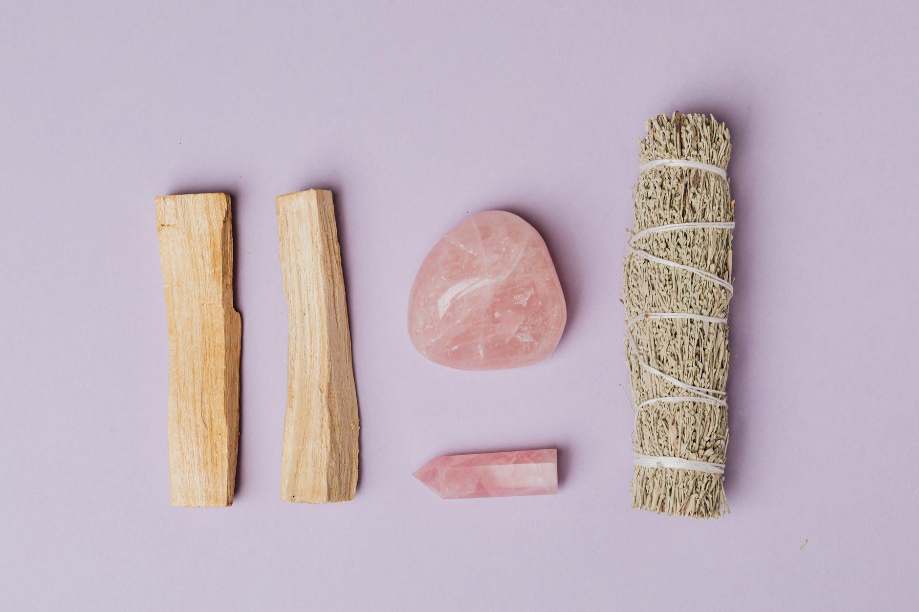 photo of rose quartz beside sage