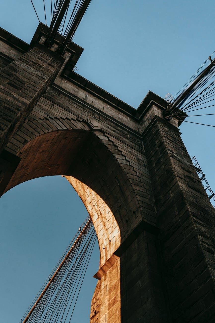 famous suspension bridge against cloudless blue sky